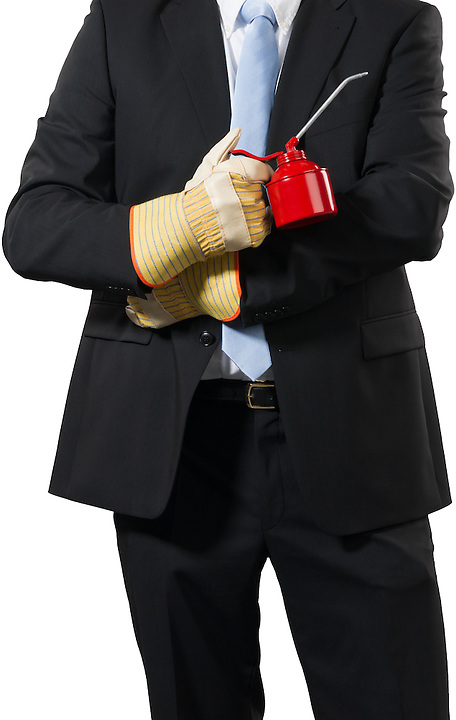 businessman ready togrease up his business