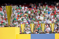 The Gold Cup champions trophy sits next to the Fair Play Award, the MVP Award, the Golden Boot trophy, and the Best Goalkeeper trophy prior to being presented. Mexico (MEX) defeated the United States (USA) 5-0 during the finals of the CONCACAF Gold Cup at Giants Stadium in East Rutherford, NJ, on July 26, 2009.