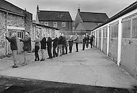 Men of Barwick-in-Elmet in West Yorkshire lower the maypole.
