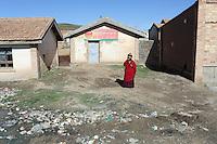 A Tibetan monk on the Tibetan Plateau, in western China.