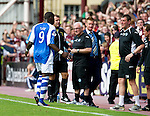 Hearts v St Johnstone...04.08.12.Steve Lomas glares at as Gregory Tade walks off after being red carded.Picture by Graeme Hart..Copyright Perthshire Picture Agency.Tel: 01738 623350  Mobile: 07990 594431