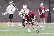 Towson, MD - May 6, 2017: UMASS Minutemen Dan Muller (18) gets the groundball during game between Towson and UMASS at  Minnegan Field at Johnny Unitas Stadium  in Towson, MD. May 6, 2017.  (Photo by Elliott Brown/Media Images International)