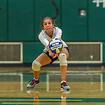 1 November 2015: Yeshiva University Maccabee Defensive Specialist and Outside Hitter Carol Jacobson, a Senior from Seattle, WA, digs against the Saint Joseph College Bears at SUNY Old Westbury in Old Westbury, NY. The Bears shut out the Maccabees 3-0 in NCAA women's volleyball, Skyline Conference play. Mandatory Credit: Ed Wolfstein Photo *** RAW (NEF) Image File Available ***