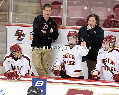 Kaliya Johnson (BC - 6), ?, Melissa Bizzari (BC - 4), Courtney Kennedy (BC - Associate Head Coach), Lexi Bender (BC - 21) - The Boston College Eagles defeated the visiting University of New Hampshire Wildcats 5-2 on Sunday, October 21, 2012, at Kelley Rink in Conte Forum in Chestnut Hill, Massachusetts.