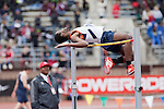 Jamie Tobias of Morgan State University attempts to clear the bar during the College Men's High Jump at the<br />