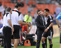 D.C. United coach Ben Olsen with Andy Najar after coming out of the game in the 81th munte of the game. D.C. United defeated Real Salt Lake 4-0 at RFK Stadium, Saturday September 24 , 2011.