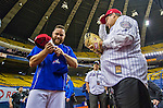 1 April 2016: Mayor of Montreal Denis Coderre, wearing classic Montreal Expos attire, walks on the sidelines with Russell Martin, showing support for the return of Major League Baseball to the city prior to a pre-season exhibition game between the Toronto Blue Jays and the Boston Red Sox at Olympic Stadium in Montreal, Quebec, Canada. The Red Sox defeated the Blue Jays 4-2 in the first of two MLB weekend exhibition games, which saw an attendance of 52,682 at the former home on the Montreal Expos. Mandatory Credit: Ed Wolfstein Photo *** RAW (NEF) Image File Available ***1 April 2016: The Mayor of Montreal Denis Coderre, wearing classic Montreal Expos attire, chats with Russell Martin prior to a pre-season exhibition game between the Toronto Blue Jays and the Boston Red Sox at Olympic Stadium in Montreal, Quebec, Canada. The Red Sox defeated the Blue Jays 4-2 in the first of two MLB weekend exhibition games, which saw an attendance of 52,682 at the former home on the Montreal Expos. Mandatory Credit: Ed Wolfstein Photo *** RAW (NEF) Image File Available ***