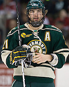 Jack Downing (Vermont - 21) - The visiting University of Vermont Catamounts tied the Boston University Terriers 3-3 in the opening game of their weekend series at Agganis Arena in Boston, Massachusetts, on Friday, February 25, 2011.