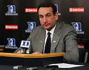 Duke head coach Mike Krzyzewski answers questions in a post-game interview. Tonight was win number 902 for Krzyzewski, tying him with Bob Knight for the NCAA Division I all-time win record. Photo by Al Drago.