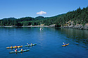 Sea kayaking at Doe Bay on Orcas Island; San Juan Islands, Washington.