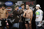 October 23, 2009; Los Angeles, CA; USA; Joe Rogan (c) speaks with challenger Mauricio Rua at the weigh-in for his fight against Lyoto Machida.