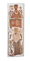 The Christian Eastern Roman Byzantine memorial funerary mosaic of a father and daughter, the father is sitting at a bankers desk. Thabarca, Tabarks, 5th Century AD, Bardo Museum, Tunis. White background