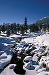 California, Lake Tahoe.  Winter stream near Lake Tahoe.  Photo cataho109.  Photo copyright Lee Foster, 510/549-2202, lee@fostertravel.com, www.fostertravel.com