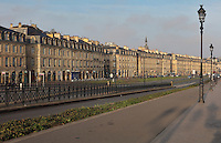 Buildings of the Quai Richelieu, 18th century buildings along the river Garonne, Bordeaux, Aquitaine, France. The quays form part of the Port de la Lune or Port of the Moon, listed as a UNESCO World Heritage Site, and the buildings are also listed as historic monuments. Picture by Manuel Cohen