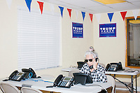 Zoila Oliva, 76, of Hialeah, calls potential voters at the Donald Trump campaign office in Hialeah, Miami, Florida.  Oliva said she is concerned about the future, especially potential Supreme Court nominations. She has been volunteering for the campaign for about a month. She has been a citizen for 40 years and has always voted Republican.