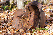 Artifact at an abandoned logging camp of the Sawyer River Railroad in the Whiteface Brook drainage of Livermore, New Hampshire USA. This was a logging railroad that operated from 1877-1928.