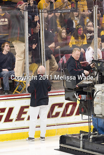 A pane of glass behind the BC net had to be replaced prior to the game. - The visiting Boston University Terriers shutout the Boston College Eagles and won 5-0 on Sunday, November 13, 2011, at Kelley Rink in Conte Forum in Chestnut Hill, Massachusetts.
