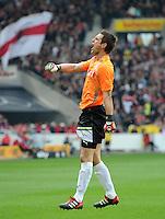 FUSSBALL  1. BUNDESLIGA  SAISON 2011/2012  29. Spieltag   07.04.2012 VfB Stuttgart - 1. FSV Mainz JUBEL Torwart Sven Ulreich (VfB Stuttgart)