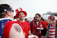USA fans up from Washington DC enjoy some pizza prior to the match. The men's national teams of the United States and Argentina played to a 0-0 tie during an international friendly at Giants Stadium in East Rutherford, NJ, on June 8, 2008.