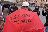 Rome, Italy. 16th January 2016<br /> Anti-war demonstration on the 25th anniversary of the bombings in Iraq and against military spending, organized by the union USB, and the social platform Eurostop.