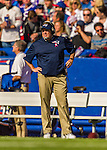 12 October 2014: New England Patriots Head Coach Bill Belichick watches play from the sidelines during a game against the Buffalo Bills at Ralph Wilson Stadium in Orchard Park, NY. The Patriots defeated the Bills 37-22 to move into first place in the AFC Eastern Division. Mandatory Credit: Ed Wolfstein Photo *** RAW (NEF) Image File Available ***