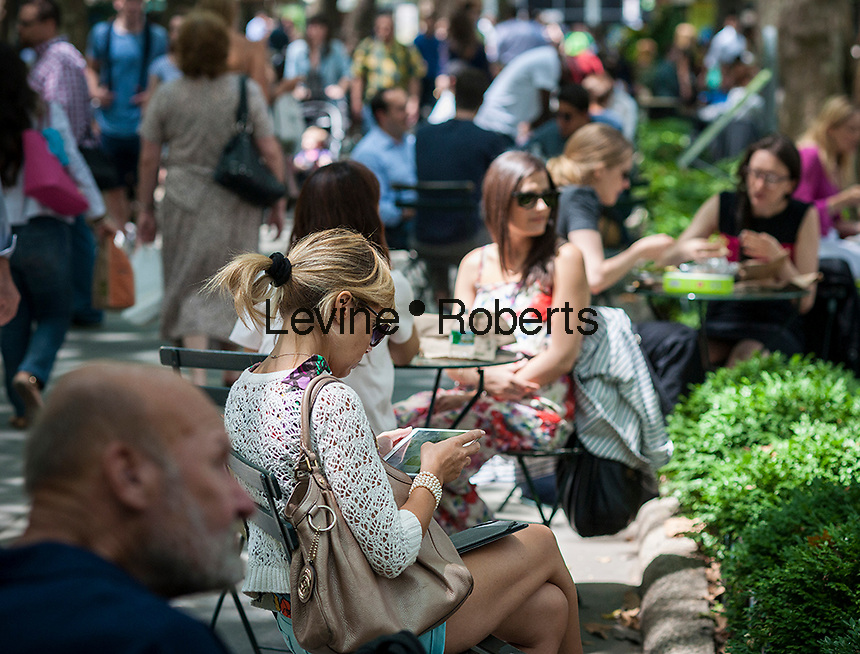 A woman uses her iPad in Bryant Park in New York on Friday, July 18, 2014.    (© Richard B. Levine)