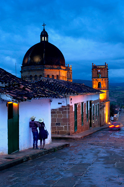 Colombia, Barichara, 18th Century Cathedral de la Concepcion, Spanish Colonial, Town Declared A National Monument, Colombian Couple, Twlight, South America