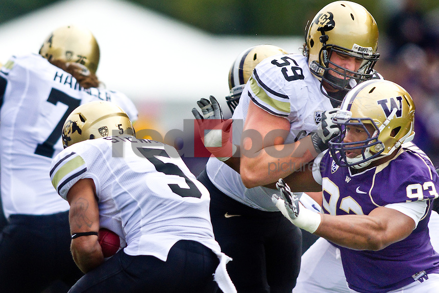 Andrew Hudson. The University of Colorado Buffaloes are beaten by the University of Washington 52-24 at Husky Stadium in Seattle, Wash. on Saturday October 15, 2011. (Photography By Scott Eklund/Red Box Pictures)
