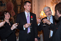 Moscow, Russia, 14/03/2011..Russian billionaire businessman Mikhail Prokhorov, ambassador Jean de Gliniasty and other guests after the ambassador awarded Prokhorov the Legion of Honour.