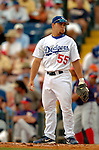 19 March 2006: Russell Martin, catcher for the Los Angeles Dodgers, looks back to the dugout during a Spring Training game against the Washington Nationals at Holeman Stadium, in Vero Beach, Florida. The Dodgers defeated the Nationals 9-1 in Grapefruit League play...Mandatory Photo Credit: Ed Wolfstein Photo..
