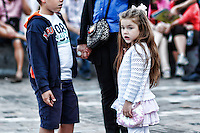 Beautiful little girl in the streets of Athens, Greece