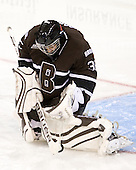 Aubree Moore (Brown - 35) makes one of her 11 saves on 12 shots during the third period. - The Boston College Eagles defeated the visiting Brown University Bears 5-2 on Sunday, October 24, 2010, at Conte Forum in Chestnut Hill, Massachusetts.