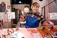 Giacomo Marrone, a fisherman selling his fresh produce at Il Capo Markets, Palermo, Sicily