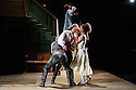 London, UK. 22.05.2015. THE BEAUX' STRATAGEM, by George Farquhar, directed by Simon Godwin, opens in the Olivier, at the National Theatre. Lighting design by Jon Clark, set and costume design by Lizzie Clachan, movement by Jonathan Goddard. Picture shows: Mark Rose (Hounslow), Samuel Barnett (Aimwell), Pippa Bennett-Warner (Dorinda), Susannah fielding (Mrs Sullen), Geoffrey Streatfeild (Archer). Photograph © Jane Hobson.
