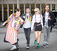 NEW YORK, NY - APRIL 14: Cole Whittle, Joe Jonas, JinJoo Lee and Jack Lawless of DNCE at SiriusXM Studios in New York City on April 14, 2017. <br /> CAP/MPI/RW<br /> &copy;RW/MPI/Capital Pictures