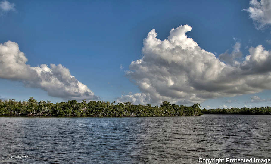 Ten Thousand Islands, HDR, Florida Everglades National Park, South Florida Sky<br />