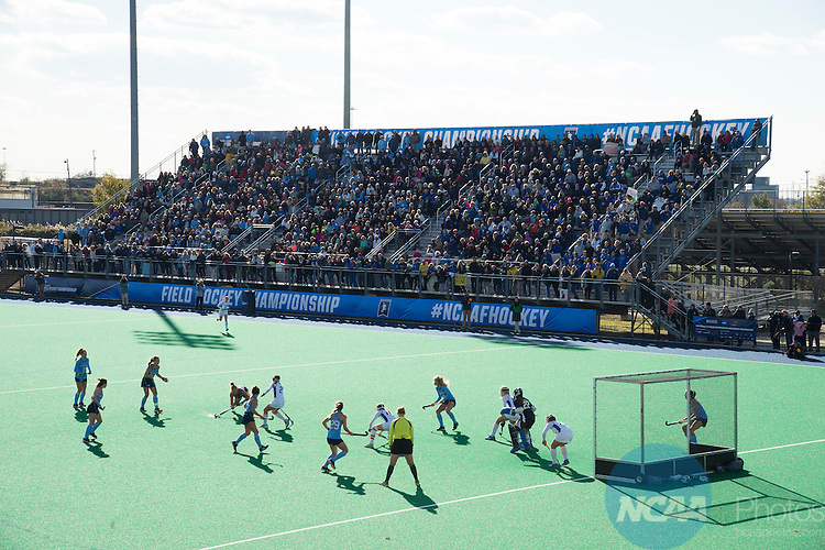 NORFOLK, VA - NOVEMBER 20:  The University of Delaware defends the goal against the University of North Carolina during the Division I Women's Field Hockey Championship held at the LR Hill Sports Complex on November 20, 2016 in Norfolk, Virginia.  Delaware defeated North Carolina 3-2 for the national title. (Photo by Jamie Schwaberow/NCAA Photos via Getty Images)