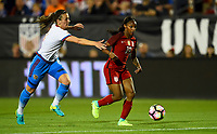 Frisco, TX - April 6, 2017: The U.S. Women's national team go up 3-0 over Russia with Crystal Dunn contributing two goals in an international friendly match at Toyota stadium.