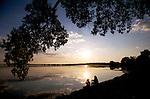 .Fishing in Lake Monona in Madison, Wisconsin.
