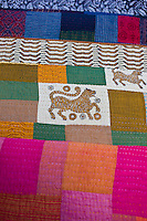Indian patchwork quilt with tiger motif at Dastkar women's craft co-operative, the Ranthambore Artisan Project, Rajasthan, India