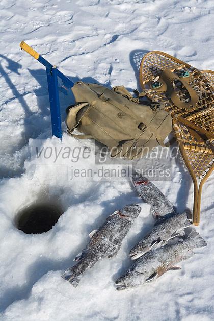 Amérique/Amérique du Nord/Canada/Québec/ Mauricie/Saint-Alexis-des-Monts:  A la Pourvoirie du Lac Blanc Gaston le trappeur à la pêche blanche aux truites du lac
