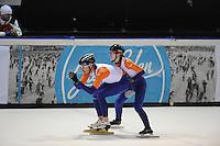 SHORTTRACK: AMSTERDAM: 04-01-2014, Jaap Edenbaan, NK Shorttrack, Prominenten Relay, Robbert de Rijk, Annita van Doorn, ©foto Martin de Jong