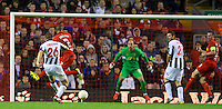 LIVERPOOL, ENGLAND - Thursday, October 4, 2012: Udinese Calcio's Giovanni Pasquale scores the winning third goal against Liverpool during the UEFA Europa League Group A match at Anfield. (Pic by David Rawcliffe/Propaganda)
