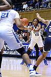 15 November 2016: Duke's Kyra Lambert (15) passes to Kendall Cooper (21). The Duke University Blue Devils hosted the Longwood University Lancers at Cameron Indoor Stadium in Durham, North Carolina in a 2016-17 NCAA Division I Women's Basketball game. Duke won the game 105-48.