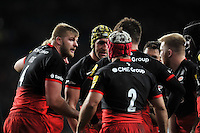 George Kruis of Saracens speaks to his team-mates during a break in play. Aviva Premiership match, between Saracens and Worcester Warriors on November 28, 2015 at Twickenham Stadium in London, England. Photo by: Patrick Khachfe / JMP