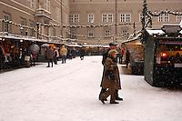 Saltzburg - Austria, Snowy Christmas market.