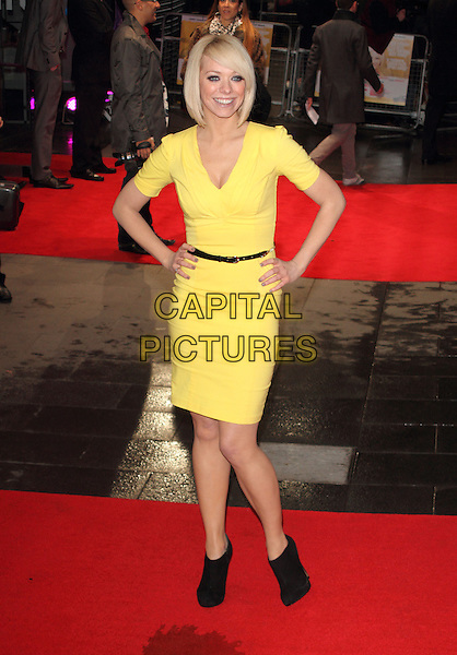 """Liz McClarnon.The """"Run For Your Wife"""" world film premiere, Odeon Leicester Square cinema, Leicester Square, London, England..February 5th, 2013.full length yellow dress hands on hips black belt booties shooboots shoes boots.CAP/ROS.©Steve Ross/Capital Pictures"""