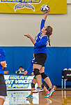 18 October 2015: Yeshiva University Maccabee Middle Blocker Marissa Almoslino, a Junior from Seattle, WA, jumps for a hit during game action against the College of Mount Saint Vincent Dolphins at the Peter Sharp Center, in Riverdale, NY. The Dolphins defeated the Maccabees 3-0 in the NCAA Division III Women's Volleyball Skyline matchup. Mandatory Credit: Ed Wolfstein Photo *** RAW (NEF) Image File Available ***