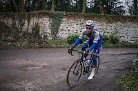 Iljo Keisse (BEL/Etixx-QuickStep) on the Chemin de Wih&eacute;ries cobble section (Honelles)<br /> <br /> GP Le Samyn 2017 (1.1)