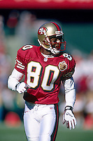 SAN FRANCISCO, CA - Jerry Rice of the San Francisco 49ers in action during a game against the Cincinnati Bengals at Candlestick Park in San Francisco, California in 1996. Photo by Brad Mangin
